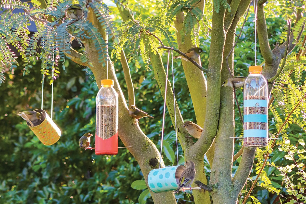 Colourful upcycled bird feeders